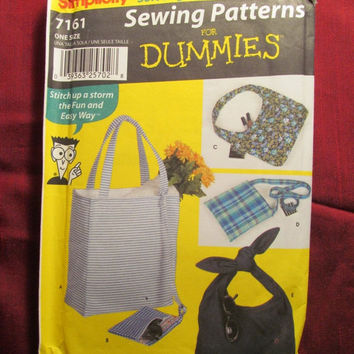 SALE Uncut 2002 Simplicity Sewing Pattern, 7161! Sewing for Dummies/Handbags/Purses/Shoulder Bags/Fabric Gift Bags/Fashion Accessories
