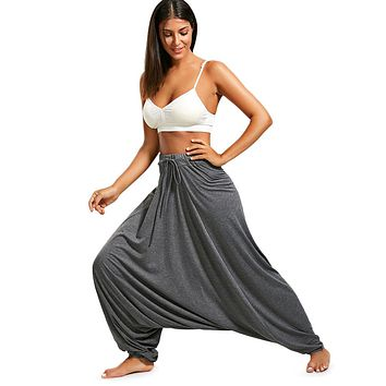 Gamiss Women Trouser Drop Bottom Harem Pants With Drawstring Casual Loose Plus Size Full Length Pants Hippie Balloon Pants S-2XL