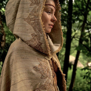 Celtic Medieval Cloak Made of Hand Woven Raw silk and Wool Fantasy Fairy Poncho
