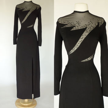 1980s black cocktail dress, long sleeve maxi sheer beaded formal gown, wiggle dress with high front slit, Tadashi, Large, Size 10