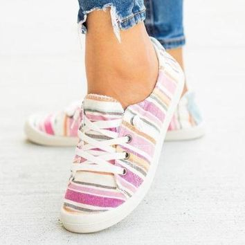 Fall Back To School Girls Pink Multi Sneakers