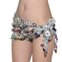 Get Ladies Sexy Exotic Belly Dance Sequins Mesh Embroidery Hip Scarf / Costume Belt With Coins & Beads - White & Black at Best Buy Shop