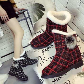 ca PEAPTM4 Hot Deal On Sale Height Increase Winter Stylish Plaid Boots [47583592455]