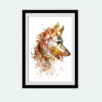 German Shepherd colorful print German Shepherd watercolor poster Dog poster Animal poster Dog print Home decoration Wall hanging decor W463