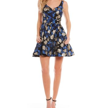 B. Darlin Jacquard Fit-And-Flare Dress | Dillards