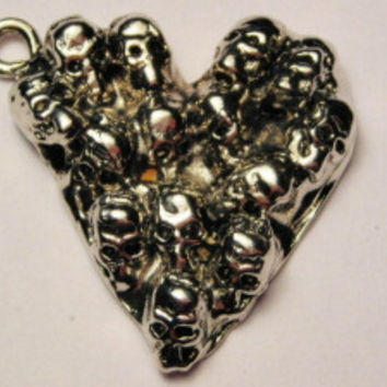 Day Of The Dead Skull Heart Genuine American Pewter Charm