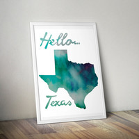 Watercolor Texas Print, Texas Print, Texas Art, Texas Poster, Texas State Print, Download, PDF & JPEG,8.5 x 11, Vertical Art Print