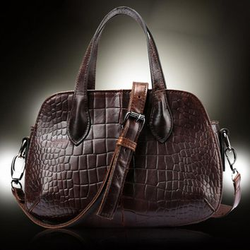 100% Genuine Leather Women Messenger Shoulder Crocodile Pattern Luxury Vintage Female Small Cross Body Tote Hand Bag Purse