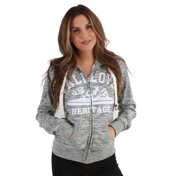 Cali Love Heritage Women's Zip-Up Sweatshirt Hoodie Marble Grey