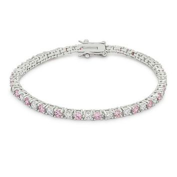 Cassidy Pink and Clear Round  CZ Tennis Bracelet – 7in | 10ct