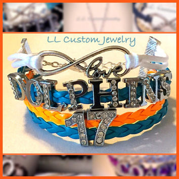 4 strand Infinity/Love, DOLPHINS with favorite players number all in Rhinestone- Customize with Different colors or Teams