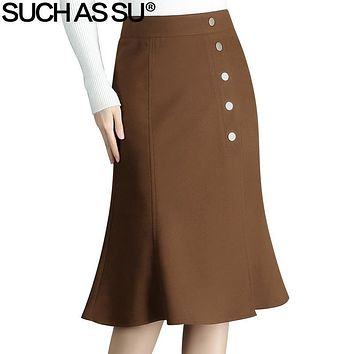 SUCH AS SU Autumn Winter Wool Skirts Womens 2017 Black Brown Button High Waist Mid Long Skirt S-3XL Office Lady Mermaid Skirt