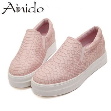 AINIDO New Women Loafers Casual Flats Heels Round Toe Black Pink Loafer Shoes Autumn
