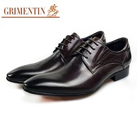 Men Dress Shoes Oxford Genuine Leather Pointed Toe Formal Business Wedding Shoes