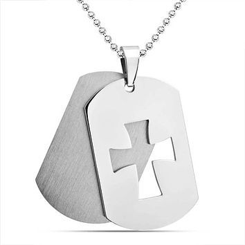 Cutout Cross Dog Tag Pendant Matte Stainless Steel Necklace Ball Chain