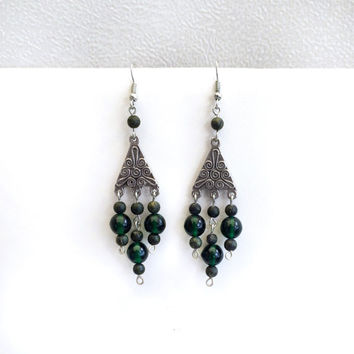 Silver Green Triangle Earrings