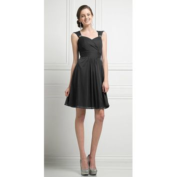 Cinderella Divine 3832 Black Chiffon Thick Strap Sweetheart Neckline Short Cocktail Dress