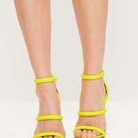 Missguided - Yellow Faux Leather Three Strap Barely There Heels