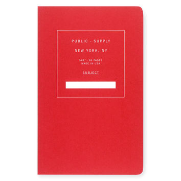 """5 x 8"""" Dot Grid or Ruled Notebook Red 02"""