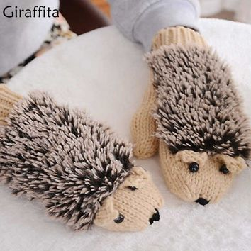 Winter Warm Plush Gloves Fluffy Hedgehog Animal Paw Mittens Soft Women Full Finger Covered Gloves Cartoon Fleece Heated Mittens