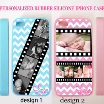 PERSONALIZED PHOTOS FILM STRIP PINK BLUE CHEVRON CASE FOR IPHONE 6 6+ 6S 4 5S 5C