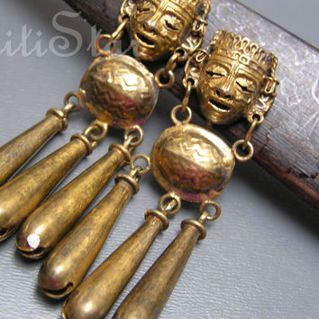 Vintage Tribal Dangle Earrings Mexican Aztec God Gold Washed Sterling Silver Long Jewelry