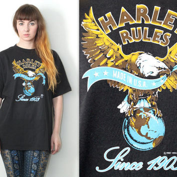 Vintage 80s Americana // HD 3D Harley Davidson Graphic T Shirt // Eagle Distressed Graphic Tee // One Size / XS Small Medium Large