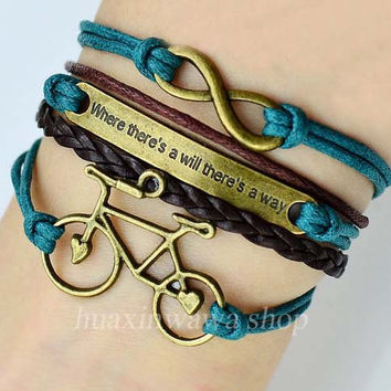 Ancient bronze Infinity bracelet,Motto (where there's a will there's a way) bracelet,Bicycle bracelet,Best friendship gift