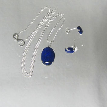 Natural Lapis Lazuli Necklace & Earrings Cabochon Set In Sterling Silver