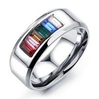 Stainless Steel Anniversary Wedding Rings Rainbow Jewelry Gay Pride Rings For Women Men AAA+ Cubic Zirconia GJ481