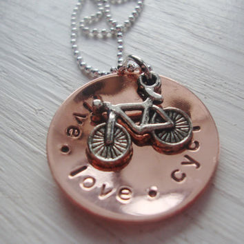 Live love cycle handstamped copper necklace with bicycle charm