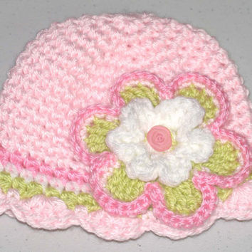 1 to 3 Months Old / Hand Crocheted Pink Hat with Flower
