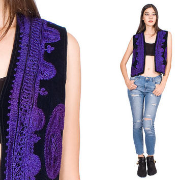Black Velvet Hippie Vest Purple Embroidery Vintage 1970s Electric 70s