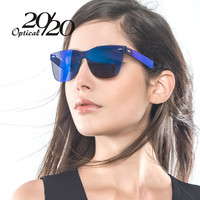 20/20 Brand Unique Style Sunglasses Women Sexy Flat Lens Rimless Square Frame Sun Glasses For Women Shades Vintage Oculos Gafas