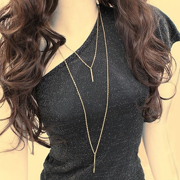 Women's fashion gold tone Long Sweater Vertical Bar Pendant Chain Necklace bohemian Jewelry (Size: One Size, Color: Gold)