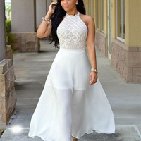 Sleeveless White Lace High Waist Gowns