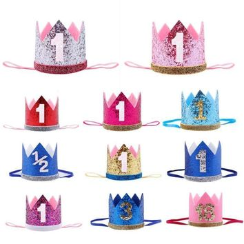 Cool Baby Girl First Birthday Party Hats Decor Cap Hairband Glitter Princess Queen Crown Headband 1st 3rd 18th Hair Accessories FavorAT_93_12