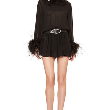 Saint Laurent Feather Trim Washed Silk Mini Dress in Black | FWRD