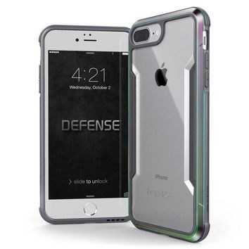 LMFXT3 iPhone 8 Plus & iPhone 7 Plus Case, X-Doria Defense Shield Series - Military Grade Drop Tested, Anodized Aluminum, TPU, and Polycarbonate Protective Case for Apple iPhone 8 Plus & 7 Plus, (Iridescent)