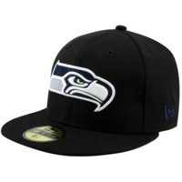 New Era Seattle Seahawks Solid 59FIFTY Fitted Hat - Black
