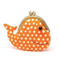 Supermarket: Cute sunset orange whale clutch purse from Misala Handmade Bags & Purses