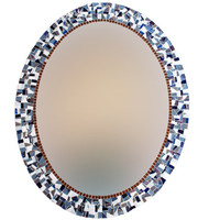 Blue and Gray Oval Mosaic Wall Mirror