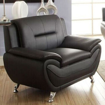 Stylish Living Room Modern Black Faux Leather Arm Chair Medium Firm