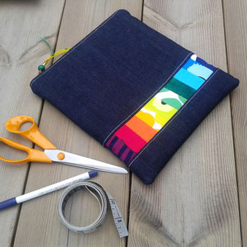 Marimekko Knitting / Sewing Organizer Bag,  Small Project bag, Marimekko fabric, Rainbow colors