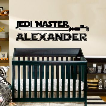Star Wars Name Decal Quote Jedi Knight Vinyl Wall Decals Sticker Custom Personalized Name Decor Kids Boys Room Nursery Art A547