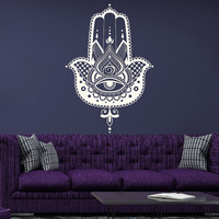 Hamsa Wall Decal Vinyl Sticker Decals Home Decor Hamsa Hand Fish Eye Indian Buddha Yoga Fatima Ganesh Lotus Patterns Art Bedroom Dorm T106