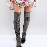 Miss Selfridge Velvet Over The Knee Boot at asos.com