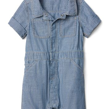 Stripe Shorty One-Piece in Chambray | Gap