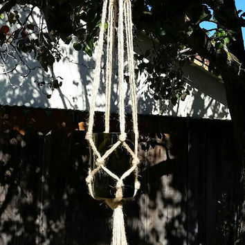 Wine Bottle Macrame Succulent Plant Hanger/Upcycled Hanging Herb  Planter/Hippie Boho Decor/Bohemian/1960s