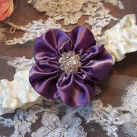 Wedding Garter in Amethyst and Ivory , Wild Rose Garter, Prom Garter, Bridal Garter